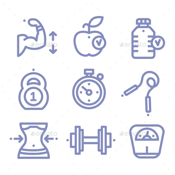 GraphicRiver Sports and Fitness Icons 10475575