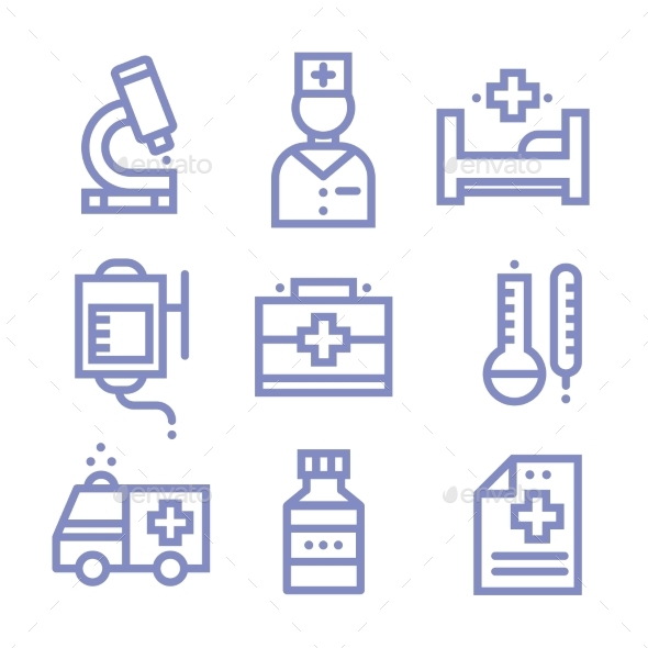 GraphicRiver Contour Simple Medical Icons Set 10475576