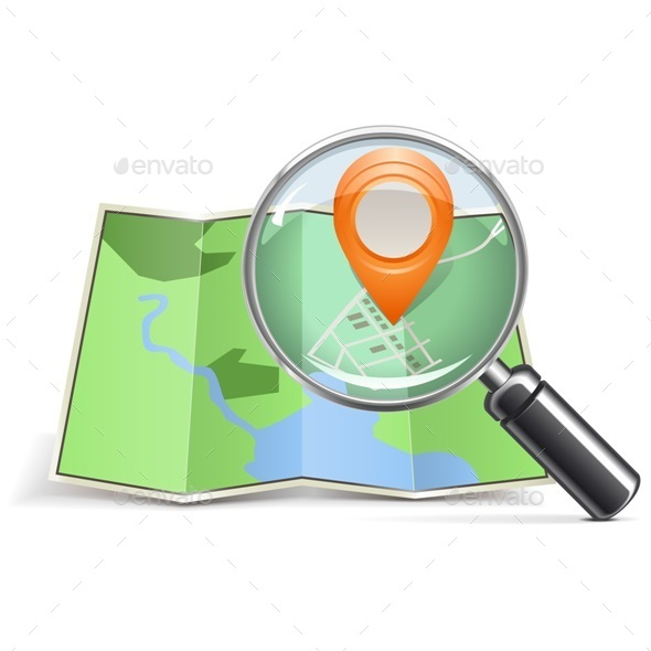 GraphicRiver Vector Loupe with Map Pointer 10475695