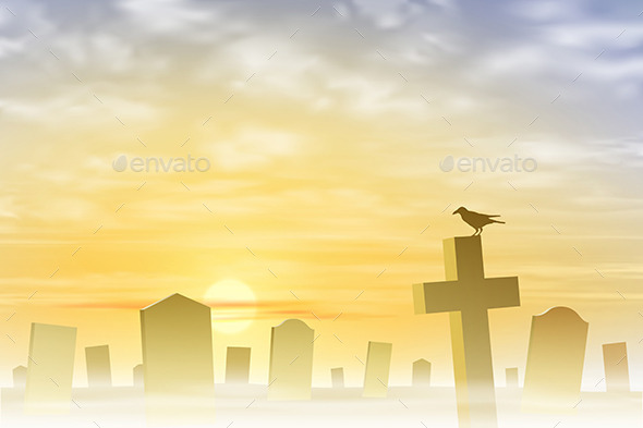 GraphicRiver Misty Graveyard 10475704