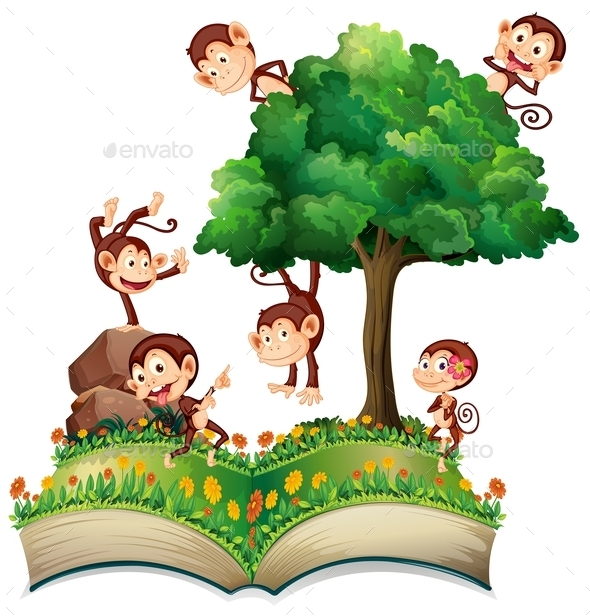 GraphicRiver Monkeys and Tree 10475750