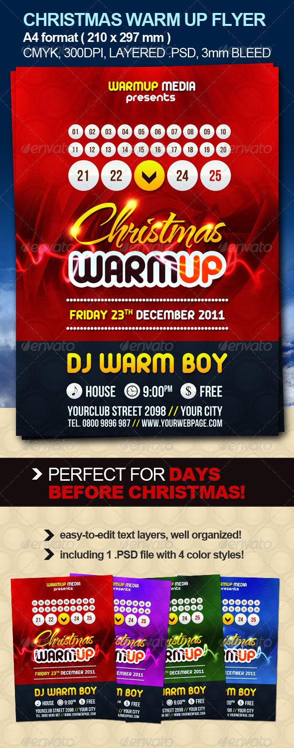 Christmas Warm Up Party Flyer - Clubs & Parties Events