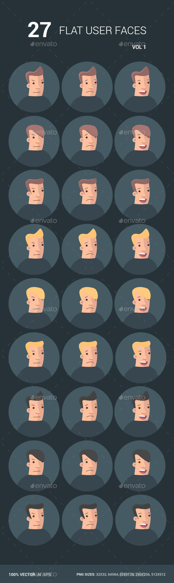 GraphicRiver 27 Flat User Faces 10475945