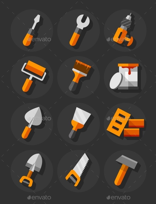 GraphicRiver Working Tools For Construction and Repair Flat 10476607
