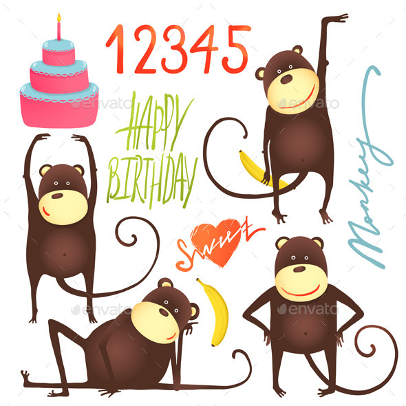 GraphicRiver Monkey Fun Cartoon with Happy Birthday Lettering 10476877