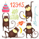 Monkey Fun Cartoon with Happy Birthday Lettering - GraphicRiver Item for Sale