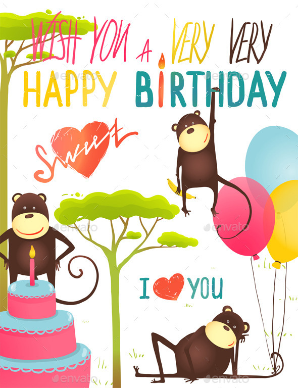 GraphicRiver Monkey Fun Happy Birthday Card with Lettering 10476902