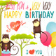 Monkey Fun Happy Birthday Card with Lettering - GraphicRiver Item for Sale