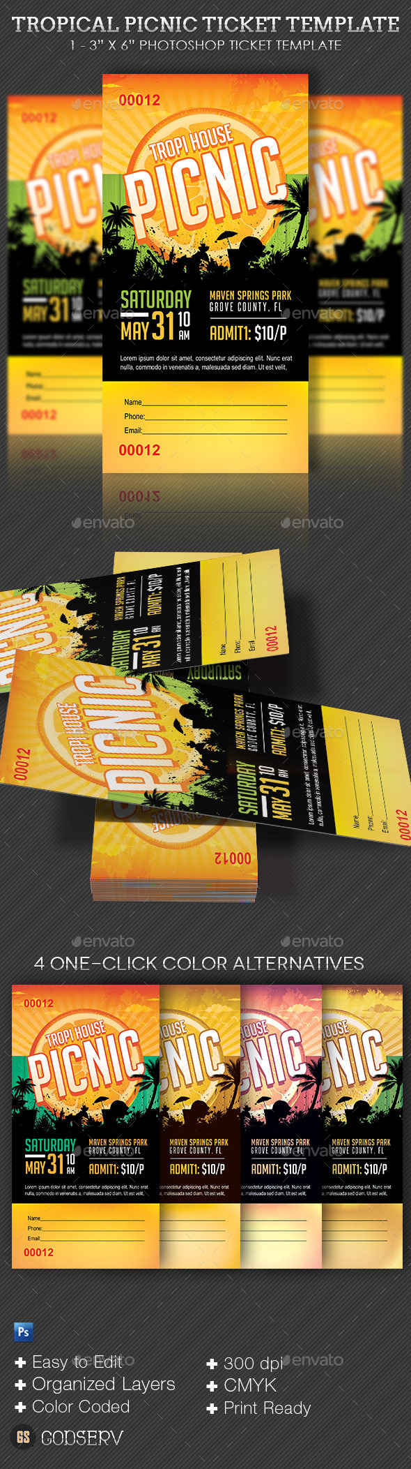 GraphicRiver Tropical Picnic Ticket Template 10434467