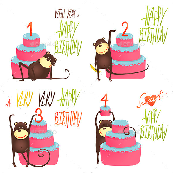 GraphicRiver Monkey Greeting Cards with Birthday Lettering 10477131