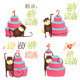 Monkey Greeting Cards with Birthday Lettering - GraphicRiver Item for Sale