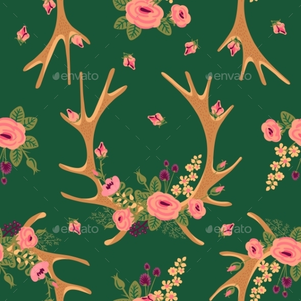 GraphicRiver Deer Antlers with Flowers Pattern 10477423