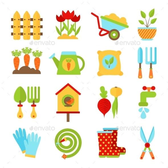 GraphicRiver Gardening Symbols 10477485