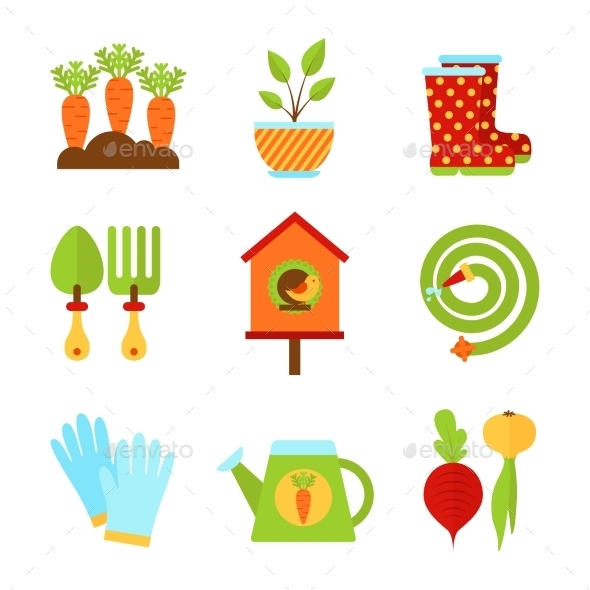 GraphicRiver Set of Flat Isolated Garden Icons Vector Illustra 10477490