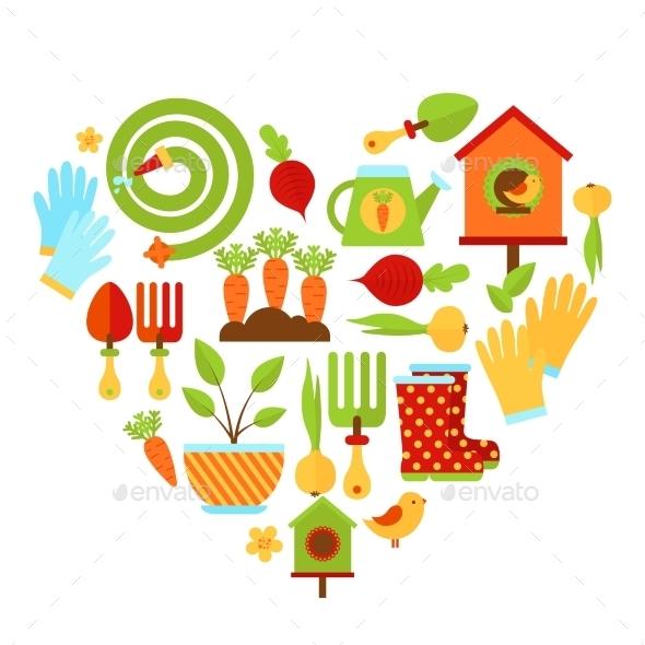 Garden Elements in Heart Shape