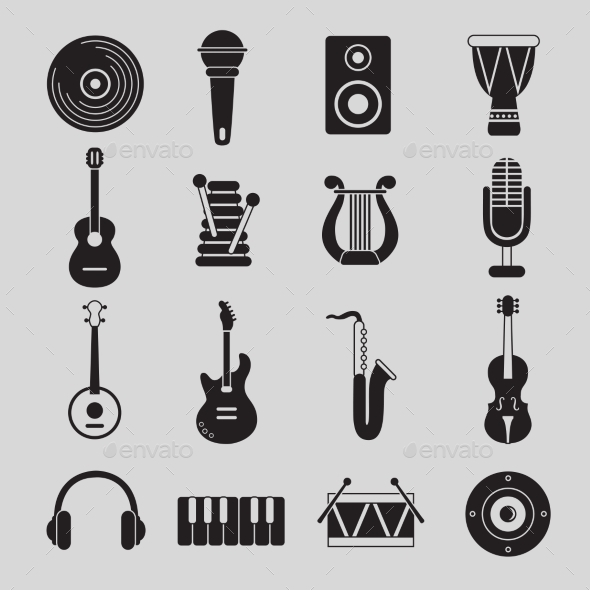 GraphicRiver Set of Black and White Musical Instruments 10477501