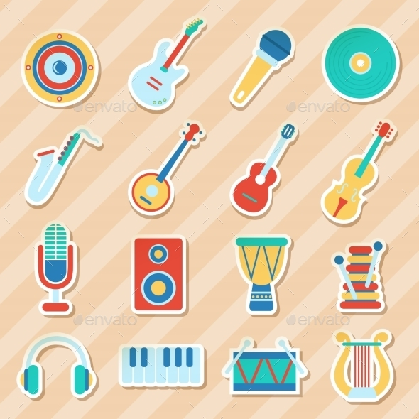 GraphicRiver Set of Musical Stickers 10477804