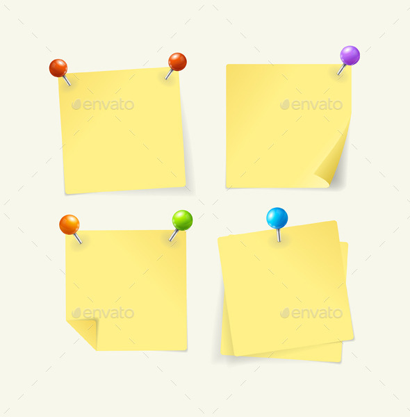 GraphicRiver Pins with Yellow Paper 10479120