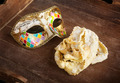 Fried pastry of italian carnival with venetian mask. - PhotoDune Item for Sale