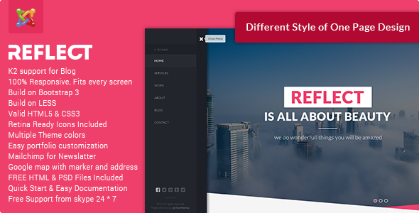 ThemeForest Reflect Creative One Page Joomla Theme 10480326