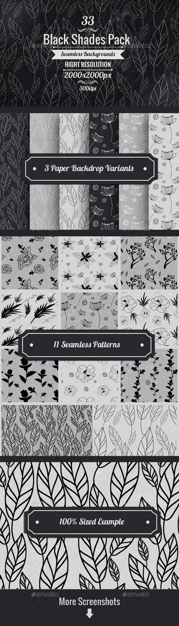 GraphicRiver Black And White Floral Paper Backgrounds 10480987