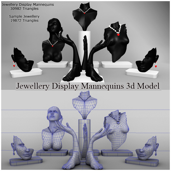 3DOcean Jewellery Display Mannequins 3D Model 10480988