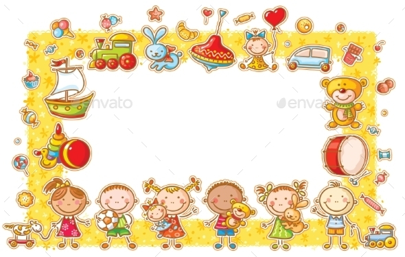 GraphicRiver Rectangular Frame with Cartoon Kids 10481293
