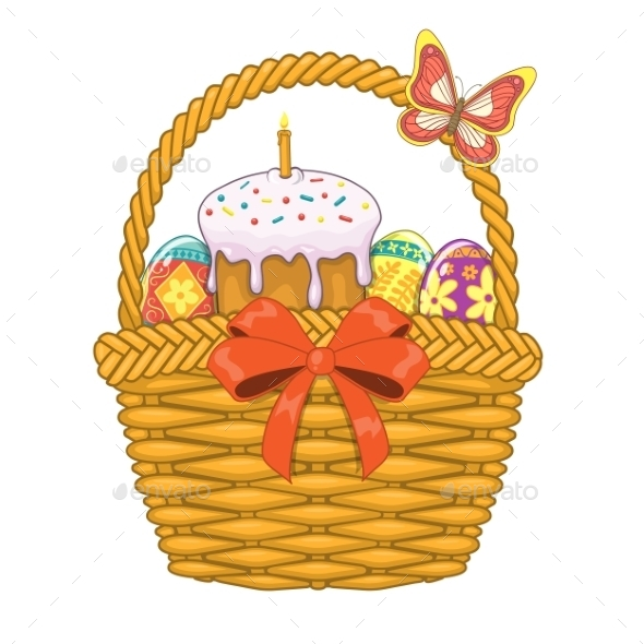 GraphicRiver Basket with Easter Eggs and Cake 10481860