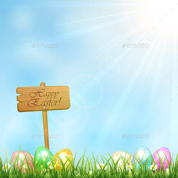 GraphicRiver Easter Background with Wooden Sign 10481872