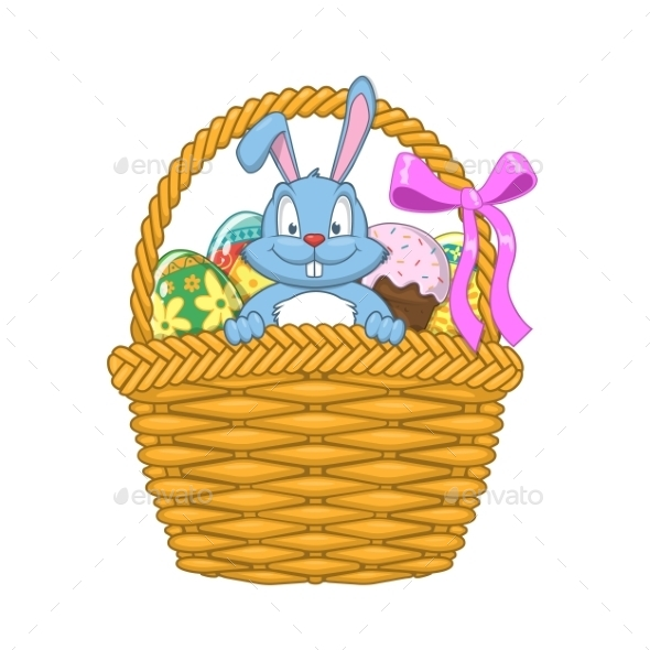 GraphicRiver Easter Basket with Rabbit and Eggs 10481878