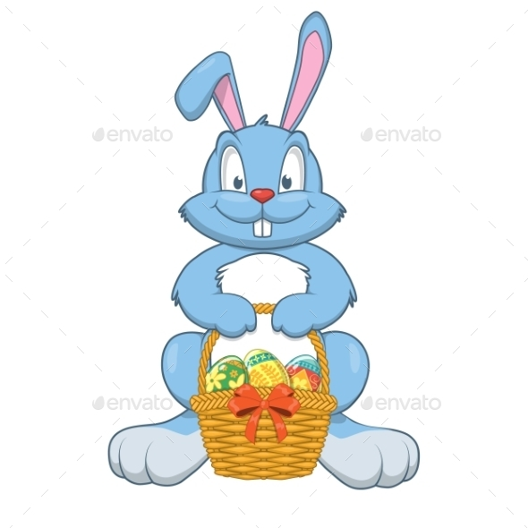 GraphicRiver Rabbit with Easter Gifts in a Basket 10481880