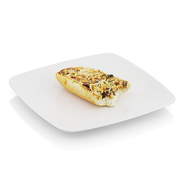 Bitten baguette baked with mushrooms - 3DOcean Item for Sale
