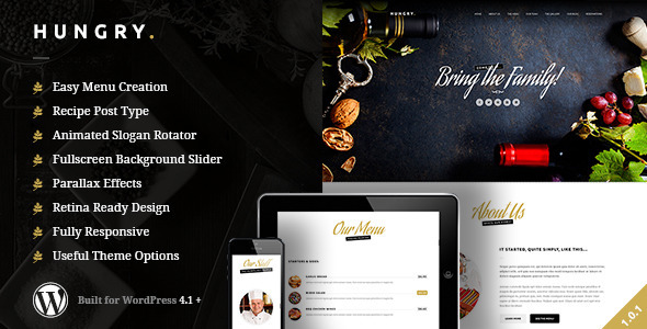 ThemeForest Hungry A WordPress One Page Restaurant Theme 10398557