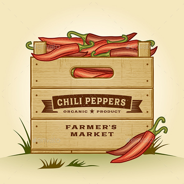GraphicRiver Retro Crate of Chili Peppers 10482165