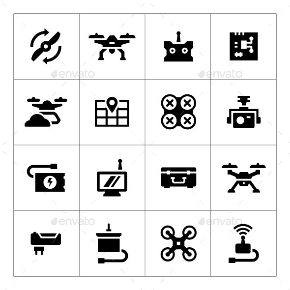 GraphicRiver Set Icons of Quadrocopter Multicopter Drone 10482360