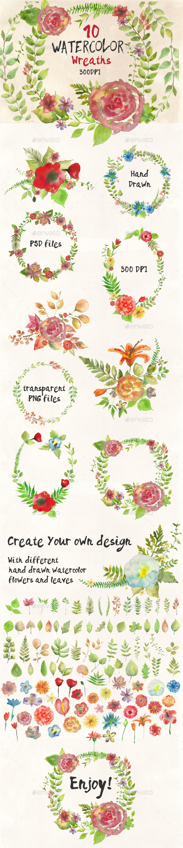 GraphicRiver Watercolor Wreathes and Bouquets 10482374