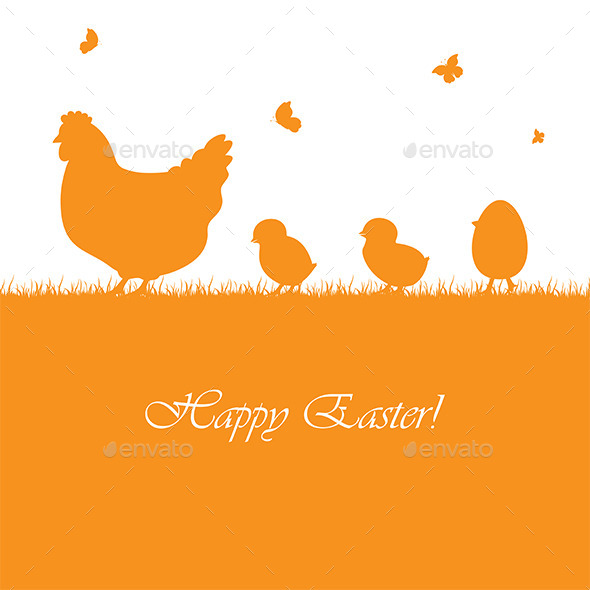 GraphicRiver Easter Background with Chickens 10482450