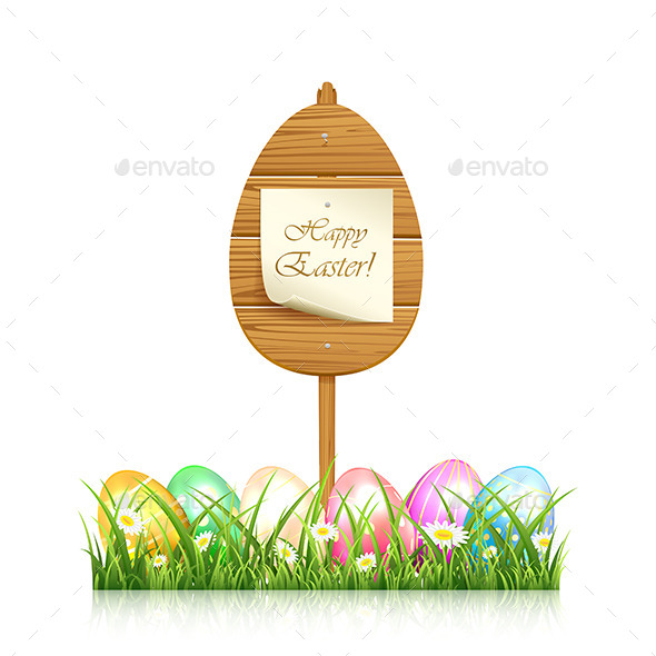 GraphicRiver Wooden Easter Sign 10482619