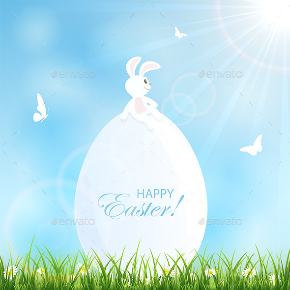 GraphicRiver Easter Background with Rabbit 10483337