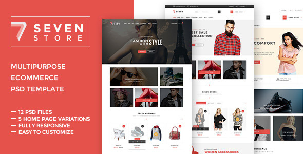 ThemeForest Seven Store Ecommerce PSD Template 10483665