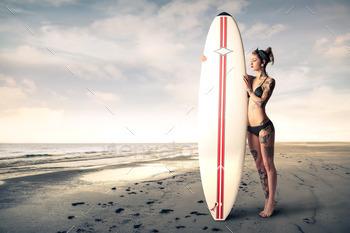 Surfin in the ocean