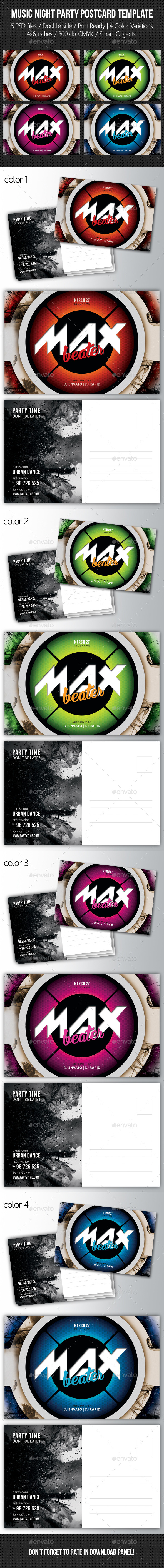 GraphicRiver Music Night Party Postcard Template V04 10484024