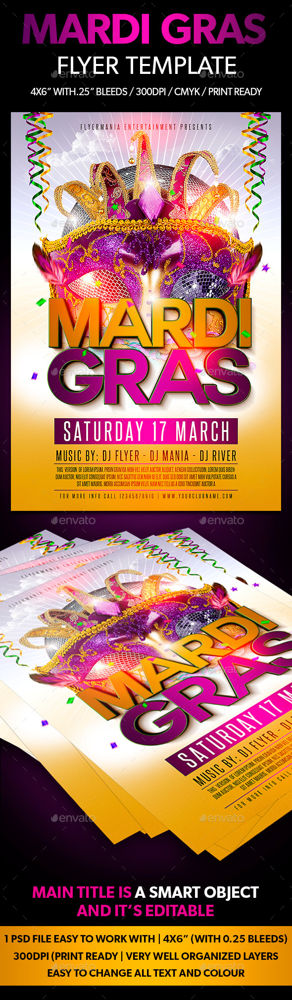 GraphicRiver Mardi Gras Flyer Template 10484026