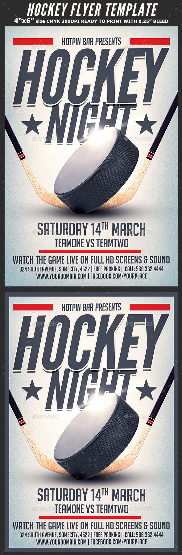 GraphicRiver Hockey Match Flyer Template 10484253