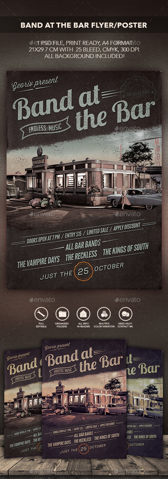 GraphicRiver Band at the Bar Flyer Poster 10484290