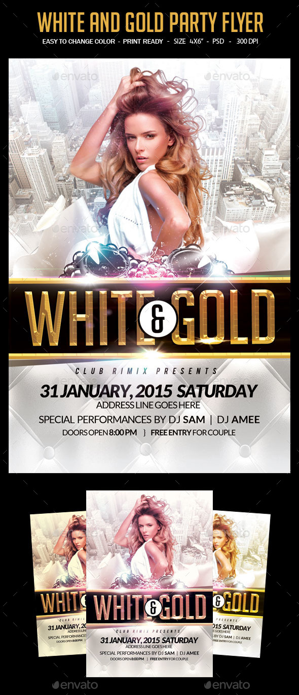 GraphicRiver White And Gold Party Flyer 10484295