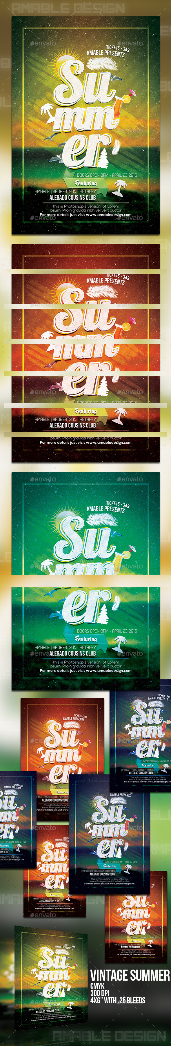 GraphicRiver Vintage Summer Flyer 10484554