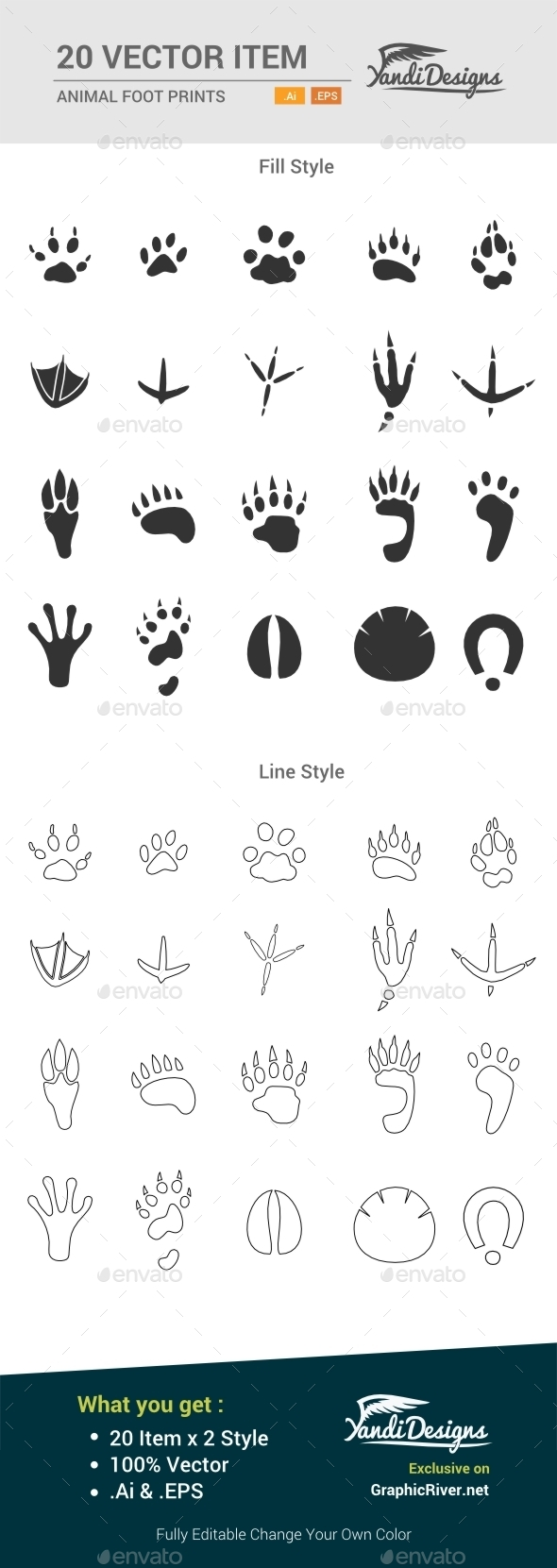 GraphicRiver Animal Foot Prints 10484654