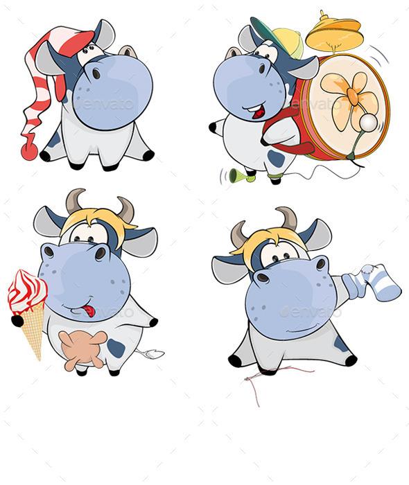 GraphicRiver Set of Cows Cartoon 10484724