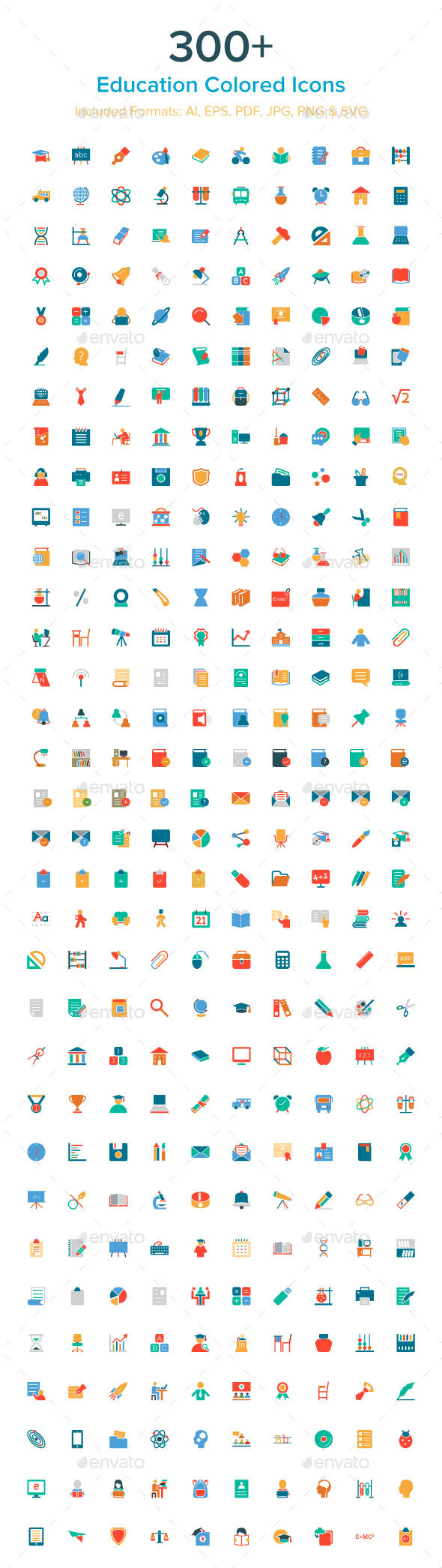 GraphicRiver 300& Education Colored Icons 10485602